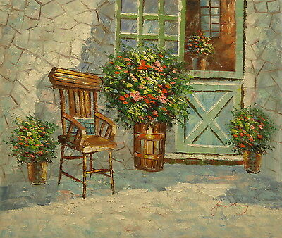 Chair by cottage window 24x20 OIL PAINTING on flat canvas signed JOANN MURRAY