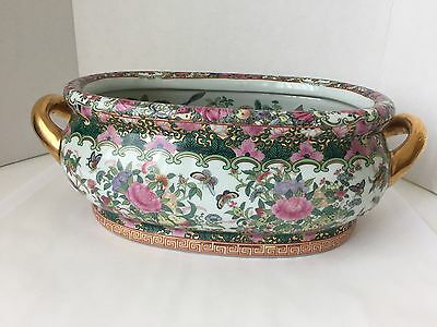Gorgeous Painted Chinese Koi Fish Butterfly Foot bath Basin Pot Gilt Handles