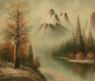 Mountain view 24x20 OIL PAINTING on flat canvas signed DAVID OBERG