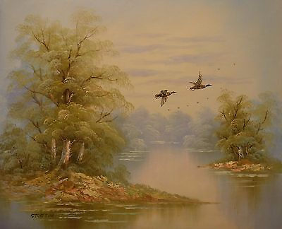 Ducks flying over a river 24x20 OIL PAINTING on flat canvas signed STRATTON