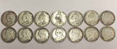 14x different dates Great Britain Silver Florins 1887 to 1901 VG to VF  no-1895