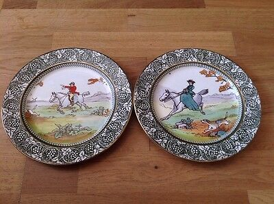 Antique Royal Doulton 2 Plates D1321 Hunting Scenes 1901-1922