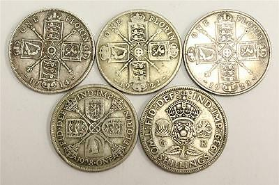 5x Great Britain Silver Florins 1914 1922 1923 1928 & 1939 all Very Good VG