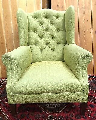 Stunning Vintage Antique Victorian Button Back Wingback Fireside Armchair