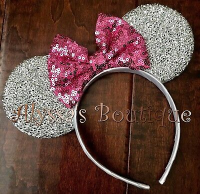 Minnie Mouse Ears Headband Silver Sparkly Pink Bow Birthday Party Favors Cute