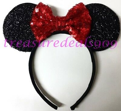 Minnie Mouse Ears Headband Black With Big Red Sparkly Bow Child Adult Party Cute