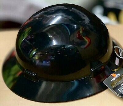 HDPE  Black Full Brim Hard Hat with Fas-trac Suspension