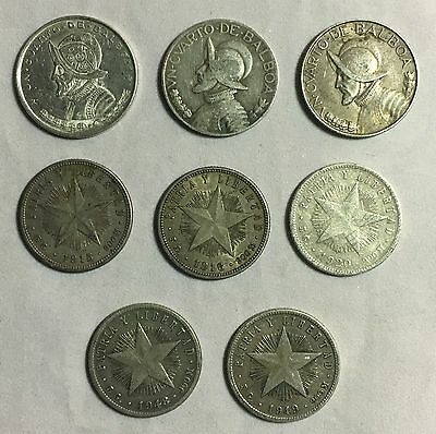Lot Of 8 Latin America 20 Centavos and 1/4 Balboa Coins