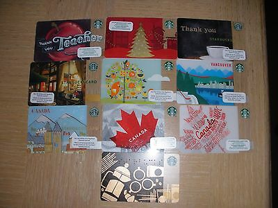 Starbucks Canada  10 different new collectible gift cards