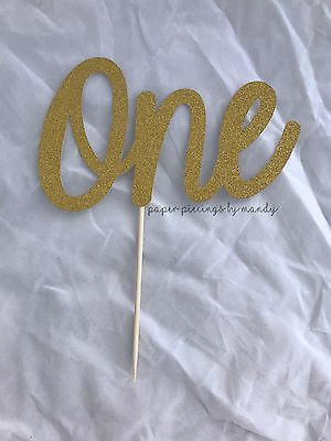 Gold glitter 'One' Cake Topper - 1st (First) Birthday