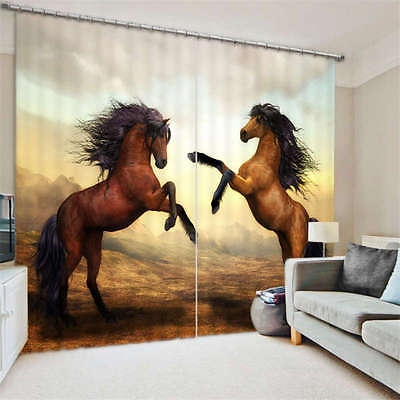 Modern Horse Art 3D Blockout Photo Mural Printing Curtains Draps Fabric Window