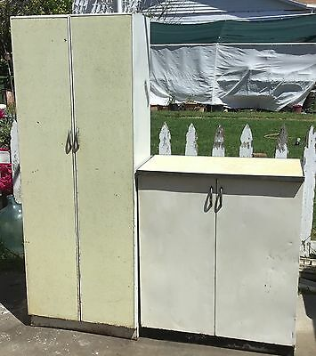 "Vintage Metal Storage Cabinet 36"" Tall Lightweight 3-Shelves LOCAL PICKUP ONLY"