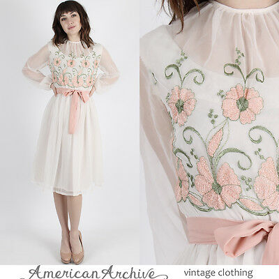 Vintage 60s Floral Embroidered Dress Wedding Cocktail Party Mod Sheer Mini S