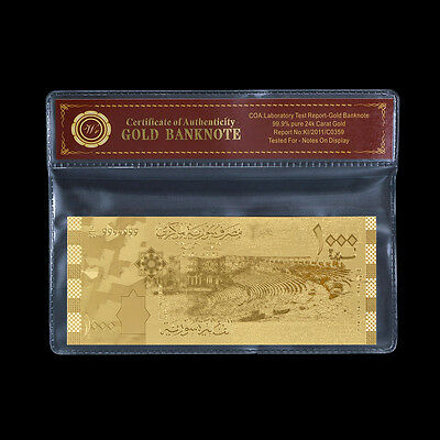 WR Syria Gold Banknote 1000 Syrian Pounds Asian Note Collectible In Sleeve