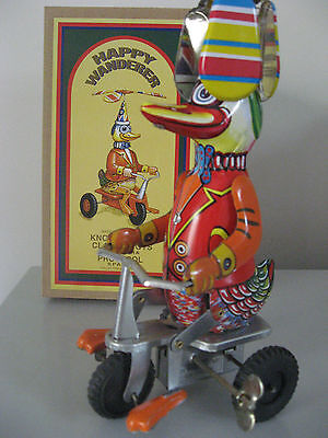 Happy Wanderer Duck On Trike - Comic Action Wind Up Clockwork Tin Toy - New!