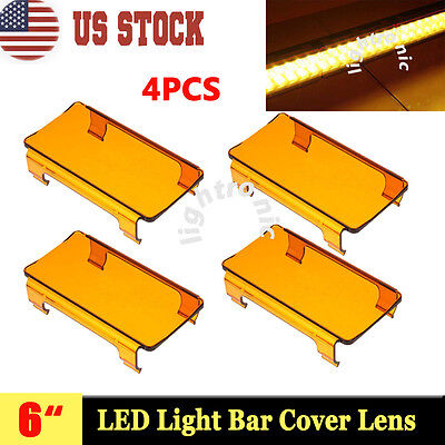 "4x 6'' Snap On Amber Lens Cover For Curved LED Light Bar Offroad ATV 50"" 52"" 54"""