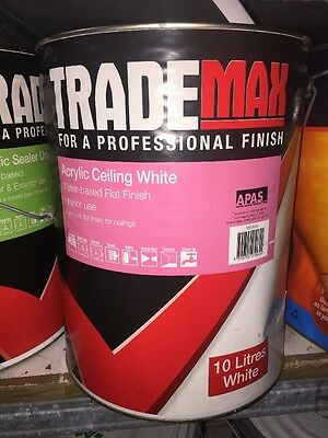Trade max Acrylic Ceiling White Water Based Flat Finish Interior Water Based 10L