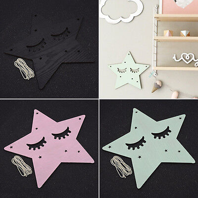 1 Pc Star Shape Wooden Wall Stickers Living Room Home DIY Decor Kawaii Kids Room