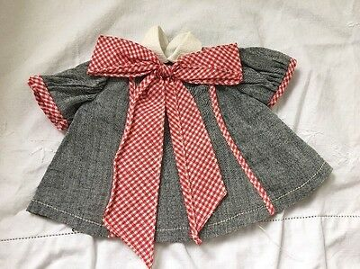 Vintage Doll Dress GREY Gray With Large Red Gingham Bow Furga Faustina ?