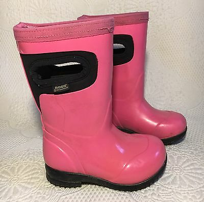 Little Girls Toddlers Bogs Rain Boots Size 7 Pink/Black