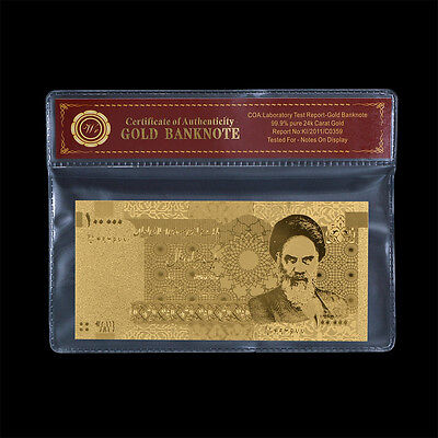WR Middle East 100000 Rials Gold Khomeini Uncirculated Banknote Collector Gift