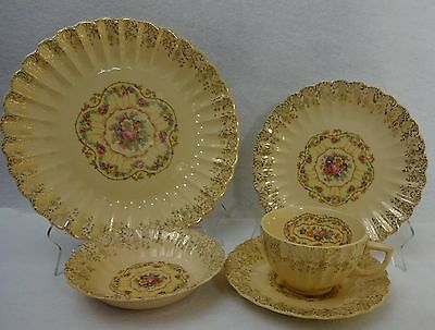 SEBRING china American Limoges TOLEDO DELIGHT SAND pattern 5-piece Place Setting