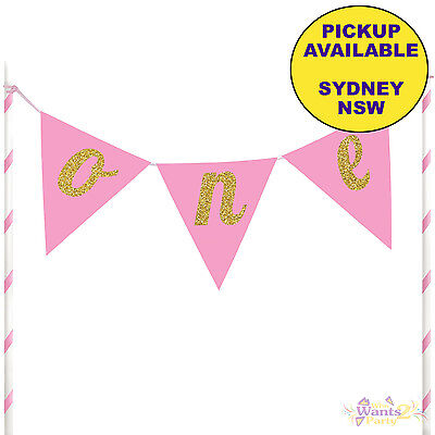 1St First Birthday Party Supplies Pink Gold Glitter One Cake Topper Bunting