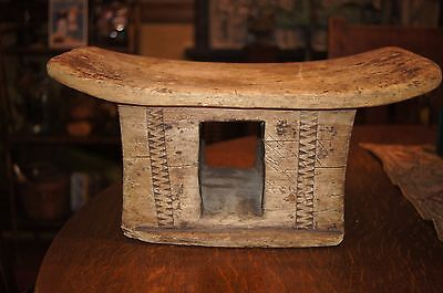 Early Primitive Asian Chinese Japanese Wood Carved Pillow