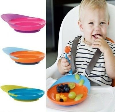 Boon Catch Plate Toddler Baby Feeding Plate with Spill Catcher and Suction Base