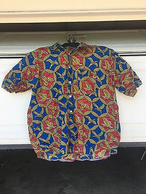 African shirt | Men's | Ankara Print collared Button | casual | Red Blue Gold -L