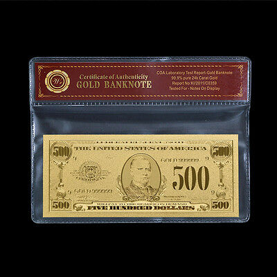 WR Proof US $500 Gold Foil Banknote 1:1 Nice Dollar Bill In Sleeve Collection