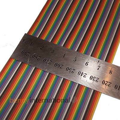 64 Way RIBBON CABLE Flat Colour Rainbow Multicolour Wire 0.5m 28 AWG