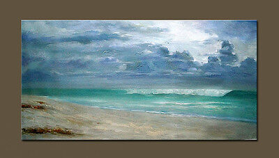 hand painted Sea beach Seascape Abstract oil painting  Modern decor wall art 48""