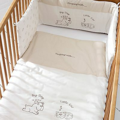 Saplings Big Dog & Little Cat Baby Bumper and Quilt Set Cot Bed