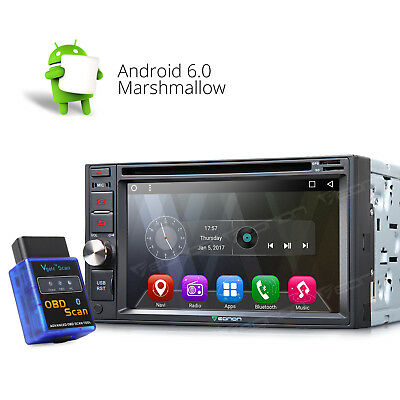 "OBD-II Android 6.0 2 DIN 6.2"" Display HD Car Stereo DVD Player GPS SAT Navi 3G W"