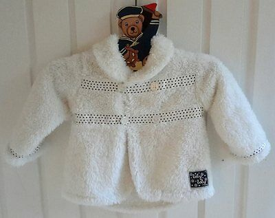 Sz 00 (3-6 months) white fluffy button up jacket