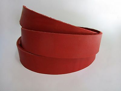 "9 oz Red Natural Leather Band Belt Blank Strip. 51+"" or 130+cm. Various width"