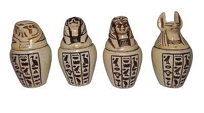 Set Of 4 Egyptian Ancient Canopic Jars Organs Storage Statues Pharaoh Collection