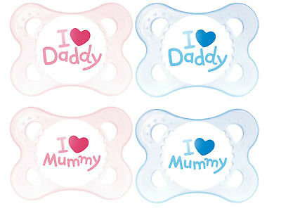 MAM Pk Love & Affection Baby Pacifier Soother Dummies 'I love Daddy' 0-4 months