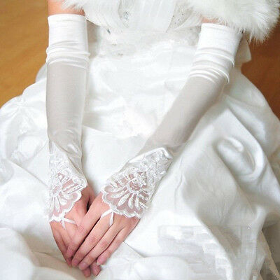 White Long Spandex Satin Lace Gloves Fingerless Party Costume Bride Dress US