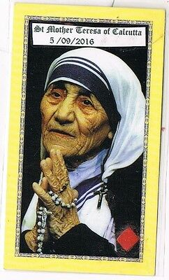 St Mother Teresa of Calcutta Relic Card + Book on her Life Cert +  3 Relic Cards
