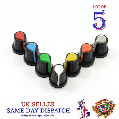 5X 6mm Small Push on Knob for Potentiometer Plastic Cap Different Colors 17mm