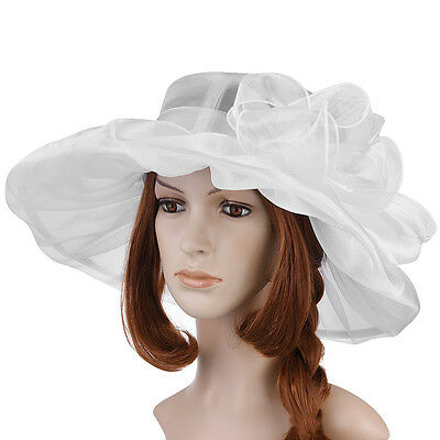 US Lady Church Kentucky Derby Hat Sheer Large Wide Brim Wedding Tea Party-White
