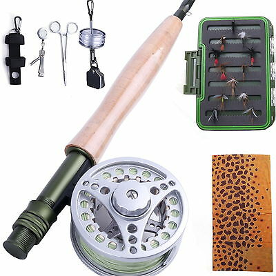 Fly Rod 5WT And Reel Combo & Fly line & Fly Fishing Tool & Fly Box Trout Flies