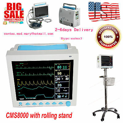 FDA 12.1'' Vital Signs Patient Monitor ECG/NIBP/SPO2/RESP/TEMP +Rolling stand,US