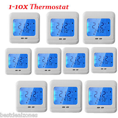 1-10x Touch Screen Programmable Underfloor Room Heating Thermostat Controller UK