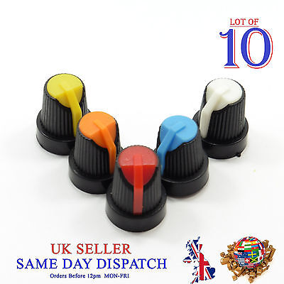 10x 6mm Small Push on Knob for Potentiometer Plastic Cap Different Colors 18mm