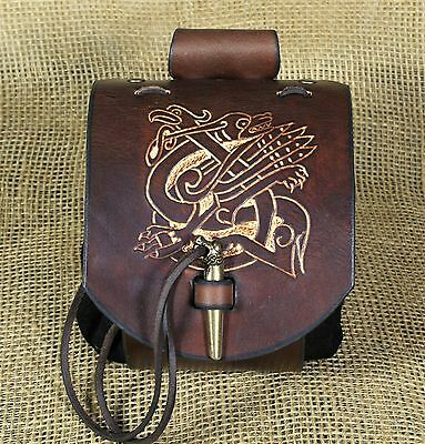 Belt pouch Medieval Celtic Griffin animals Embossing Leather brown Viking