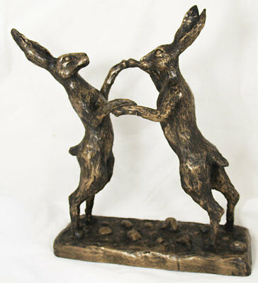 Boxing Hares (Large) - Cold Cast Bronze Resin Sculpture by John Rattenbury