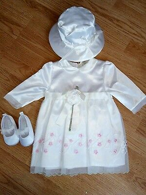 baby girl chrisnening wedding dress 6-9 m laura ashley shoes